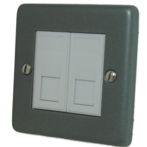 G&H CP64W Standard Plate Pewter 2 Gang Slave BT Telephone Socket